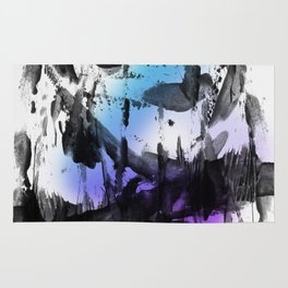 Thick Bold Black Ink Abstract Expressionism Rug