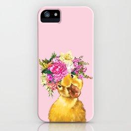 Flower Crown Baby Duck in Pink iPhone Case