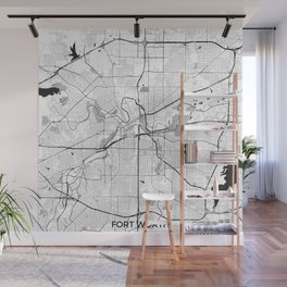 Fort Worth Map Gray Wall Mural
