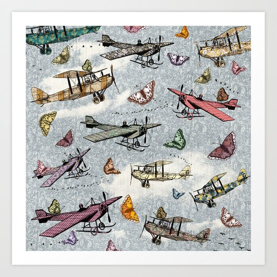 Vintage Sky - Planes and Butterflies Art Print