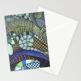 """Moo's Mom's Abstract art """"Blue Zen"""" Stationery Cards"""