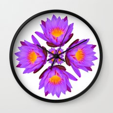 Purple Lily Flower - On White Wall Clock