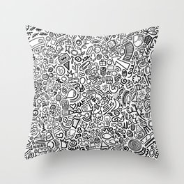 Hidden Images Doodle Art Throw Pillow