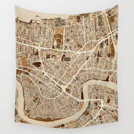 New Orleans Street Map Wall Tapestry