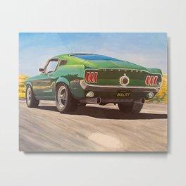 Bullitt Mustang painting Metal Print