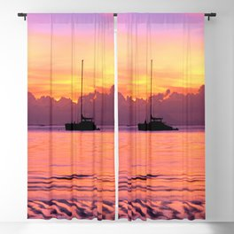 Sunset Sailboat Near Tahiti in the South Pacific Blackout Curtain