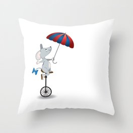 Mouse on unicycle Throw Pillow