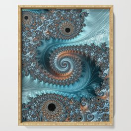 Feathery Flow - Teal and Taupe Fractal Art Serving Tray