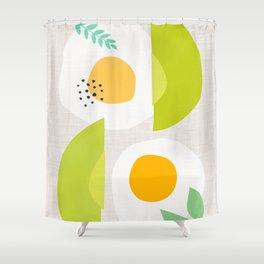 Minimalist Avocado and Eggs Shower Curtain