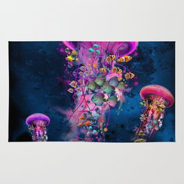 Floating Electric Jellyfish Worlds Rug