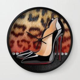 High Heel Stilettos and Leopard Print Wall Clock