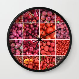 Red Fruit & Vegetables. Home decor: Modern, colorful collage for your kitchen, home and cafe. Wall Clock