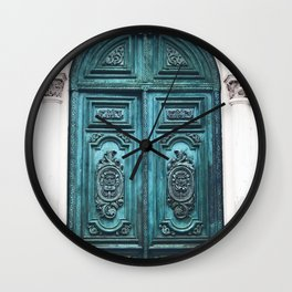 Old Blue-Green Patina Doorway Photograph Wall Clock
