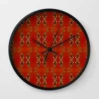 ashton irwin Wall Clocks featuring Influenza C Tapestry by Alhan Irwin by Microbioart