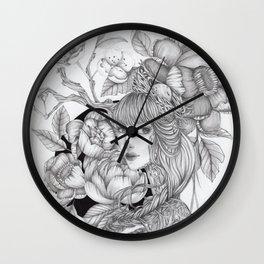 JennyMannoArt GRAPHITE DRAWING/SAGE Wall Clock