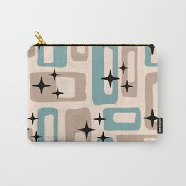 Retro Mid Century Modern Abstract Pattern 227 Blue and Beige Carry-All Pouch