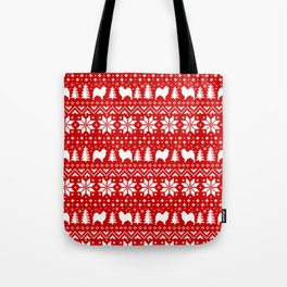 Samoyed Silhouettes Christmas Sweater Pattern Tote Bag