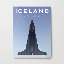 Reykjavík, Iceland | Hallgrímskirkja Church Travel Poster Metal Print