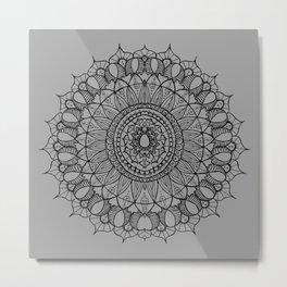 Bohemian Mandala on Gray Metal Print