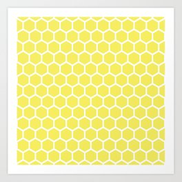 Summery Happy Yellow Honeycomb Pattern - MIX & MATCH Art Print