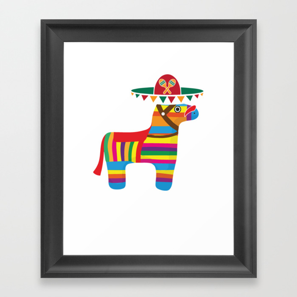 Pinata With Sombrero Mustache Cinco De Mayo Framed Art Print by Teepsy FRM8927497