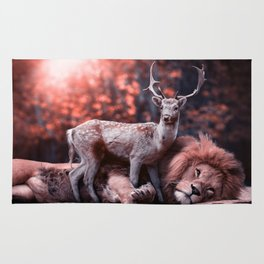 Unlikely Friends, Deer and Lion Rug
