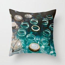 Ball Jars in Blue Throw Pillow