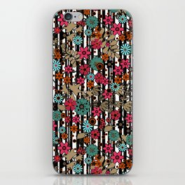 Floral pattern on black and white striped background iPhone Skin