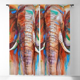 colourful elephant Blackout Curtain