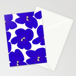 Blue Retro Flowers Stationery Cards