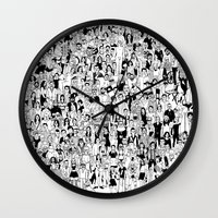 it crowd Wall Clocks featuring Crowd by mutante