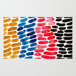 Colorful Watercolor Scales Aquatic Pattern Yellow Blue Red Primary Colors Rug