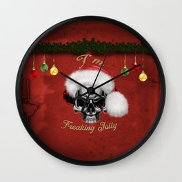 Funny skull with christmas hat, I'm freaking jolly Wall Clock