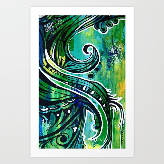 green and blue Art Print