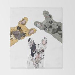 Triple Frenchies Throw Blanket