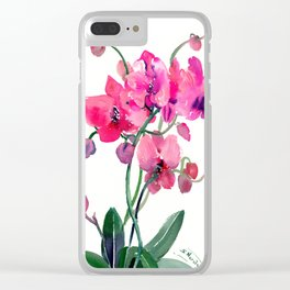 Pink Orchids Clear iPhone Case