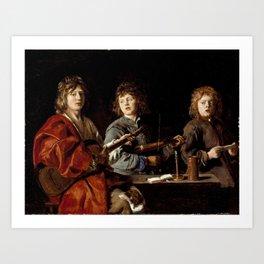 Antoine Le Nain - Three Young Musicians Art Print