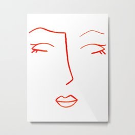Orange Sleeping Beauty Minimalist Abstract Womankind Minimal Line Drawing Womans Face Metal Print