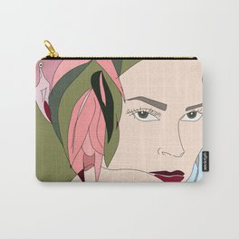 Cabarete Flamingo Illustration Woman Hair Carry-All Pouch