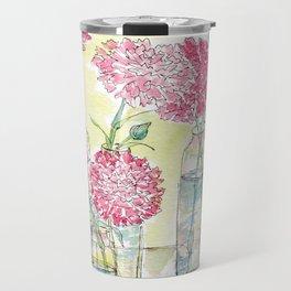 Pink Carnations, Still Life Travel Mug