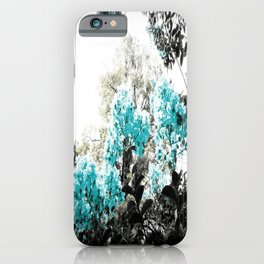 Turquoise & Gray Flowers iPhone Case