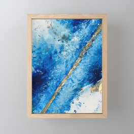 Blue Skies [2]: a pretty, abstract mixed-media piece in blue, gold and white Framed Mini Art Print