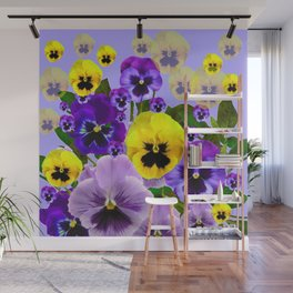 SPRING PURPLE & YELLOW PANSY FLOWERS Wall Mural