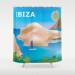Ibiza, Spain - Skyline Illustration by Loose Petals Shower Curtain