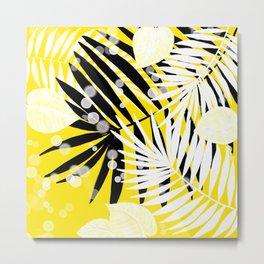 Black-White-Yellow Tropical Leaves Metal Print