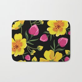 Beautiful pattern with tropical flowers. Bath Mat