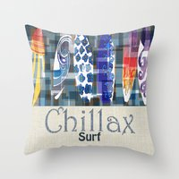 surfboard Throw Pillows featuring Chillax Surfboard by Christine Parrish Coastal Designs