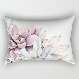 Desert Succulents on White Rectangular Pillow