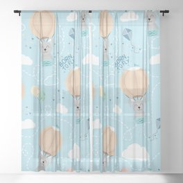 Born to fly bunny pattern Sheer Curtain