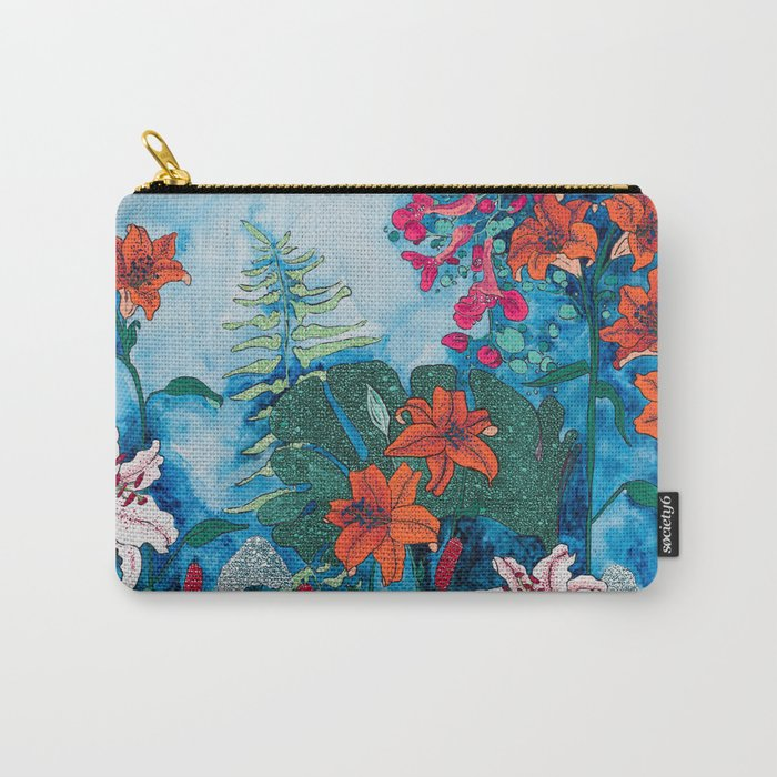 Blue Jungle of Orange Lily and Pink Trumpet Vine Floral Carry-All Pouch